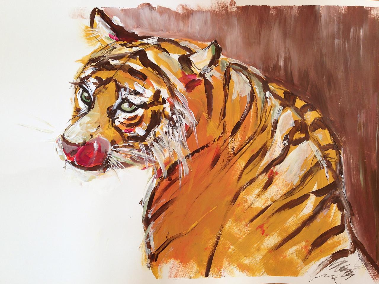 Tiger – Acryl auf Papier, ca. 60 x 80 cm