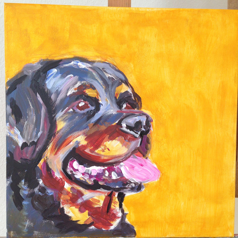 Rottweiler –Acryl auf Leinwand, 40 x 40 cm
