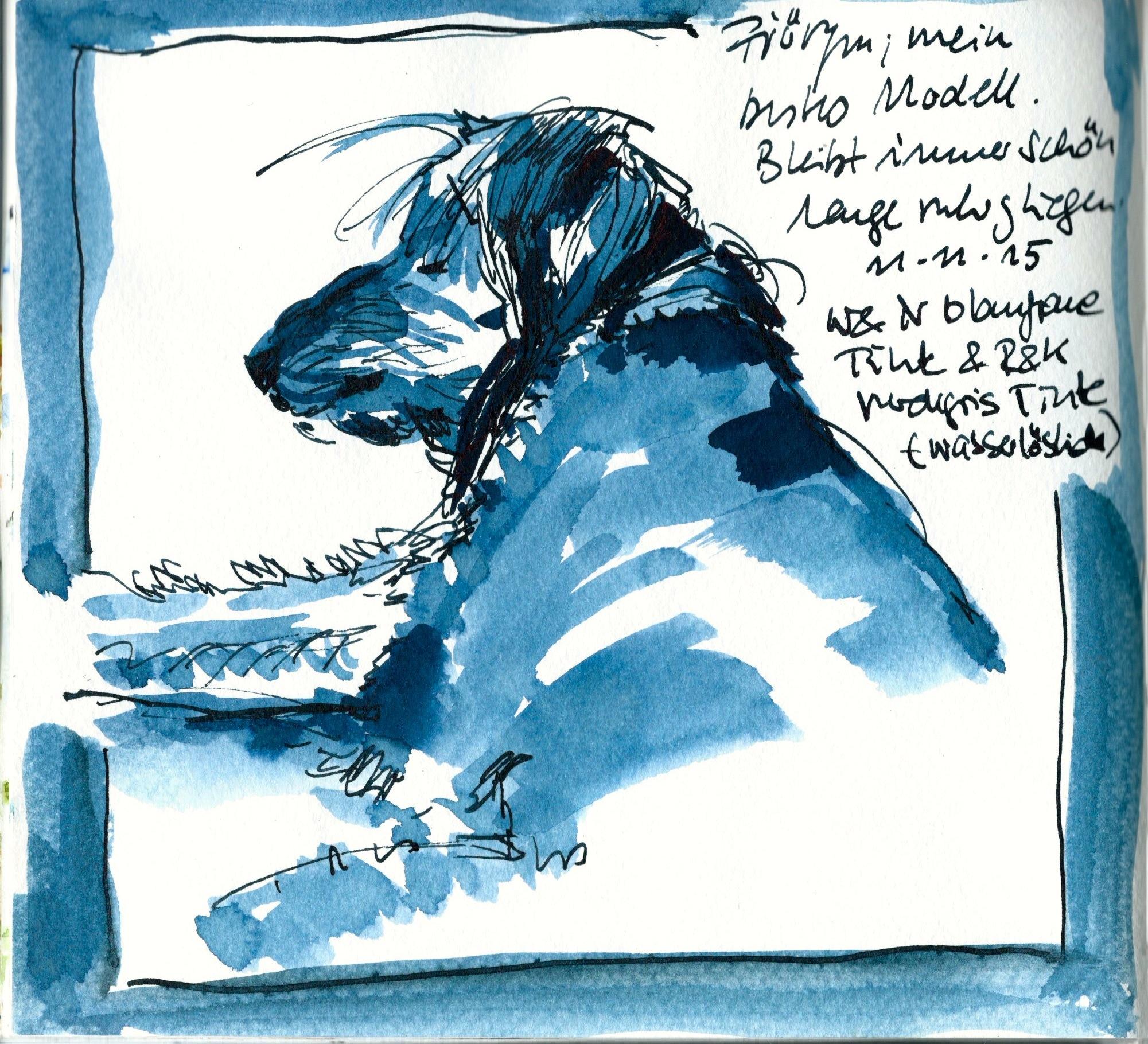 Fjöryn – Tinte und Tusche im Skizzenbuch, ca 17 x 17 cm